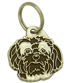 BOLONKA WHITE AND BROWN - pet ID tag, dog ID tags, pet tags, personalized pet tags MjavHov - engraved pet tags online